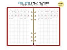 5 Year Planner 2019 - 2023 POCKET Filofax Printable Refill Planner