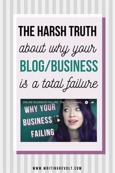 Blog or online business failing? Ready to learn WHY so you can fix it? This video is full of the harsh truths you need to make a CHANGE and make your business/blog successful. Watch now for the best blogging tips to help you succeed! | entrepreneur tips | creative entrepreneur | blogger tips | blogging advice | freelancing tips | freelancer tips | blogging tips | #bloggingtips #business