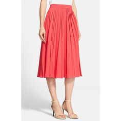 Women's kate spade new york pleated crepe midi skirt ($330) ❤ liked on Polyvore featuring skirts, aladdin pink, pink midi skirt, midi skirt, crepe skirt, calf length skirts and pleated skirt