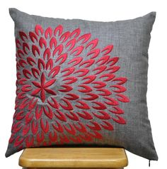 Red Petal Flower Pillow Cover, Decorative Throw Pillow Cover, Ash Grey Linen Pillow Red Flower, Grey Cushion Cover , Pillow Case 18 x 18. 25.00, via Etsy.
