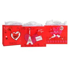Romantic Love Theme / Anniversary Heart Paris Design Gift Bags and Tissues - Assortment of 3 ^^ See this awesome image  : Wrapping Ideas
