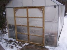 """""""That's all I can stands, I can't stands no more!"""" After wrestling with the terrible sliding doors for the last year, I've and enough! The other day there was enough ice buildup in the track where it just forced the entire door off...Trying to put it back on in the freezing temps, I manage... Harbor Freight Greenhouse, Greenhouse Gardening, Greenhouse Ideas, Garden Structures, Sliding Doors, Green Houses, Garden Sheds, Track, Wrestling"""