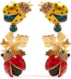 Dolce & Gabbana - Gold-plated, Crystal And Enamel Clip Earrings