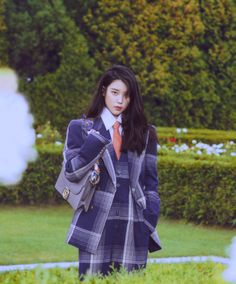 IU appears on the cover of Fall edition wearing a leather shoulder bag and suit from by… Iu Fashion, Korean Fashion, Fashion Outfits, Korean Actresses, Milla Jovovich, Cate Blanchett, Korean Singer, Pretty People, Korean Girl