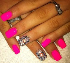 Hot pink nails with bling!