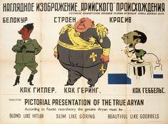 "Russian WW2  ""Pictorial presentation of the true aryan. Blonde like Hitler, slim like Goring and beautiful like Goebbels"""