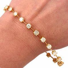 light Yellow Diamond Yellow Gold  Link Bracelet image 5