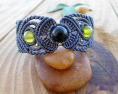 Bracelet en macramé agate mousse, bijoux en macramé, micro macramé, bracelet en pierres précieuses, micromacrame brassard, bracelet boho, bijou elfique