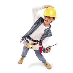 Construction Worker Halloween Costume for Kids #Easy. All you need is a hard hat, toy tools, construction boots, plaid shirt (roll up sleeves), and a thermal shirt. Easy construction costume :).
