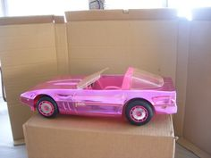 Barbie metallic pink Corvette -- My mom always said it would blind people driving down the street if it was a real car, lol