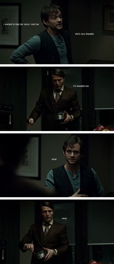 "Hannibal funnies... ""I'm very kissable too."" ""What?""... ""What?"" Mads Mikkelsen and Hugh Dancy."