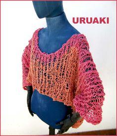 Jersey de algodón calado en tonos rosa y naranja.  Tejido a mano  (ref: 3413001)
