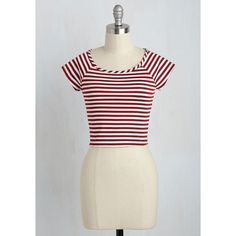 Nautical Short Length Short Sleeves Cropped Roller Derby Date Top ($25) via Polyvore featuring tops, apparel, knit top, red, short sleeve knit, stripe top, short sleeve tops, red top and short tops