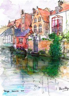 Brugge in Belgium, watercolor and pen