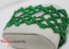Bracciale verde con tecnica a chiaccherino. #bracciale #chiaccherino #tatting #verde #MissHobby