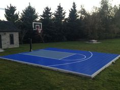 Backyard Basketball Court - Waiting for the kids to get home from school! Basketball Court Pictures, Backyard Basketball, Portable Basketball Hoop, Outdoor Basketball Court, Basketball Tricks, Duke Basketball, Backyard Playground, Backyard Ideas, Outdoor Ideas
