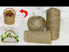 DIY Flower and Flower vase Decoration Idea with Jute Rope Jute Crafts, Diy And Crafts, Arts And Crafts, Lidia Crochet Tricot, Craft Packaging, Giant Paper Flowers, Christmas Decorations To Make, Craft Items, Burlap
