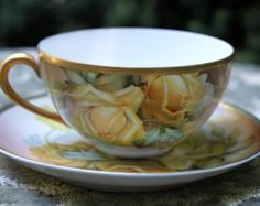 Antique Teacup and Saucer with Yellow Roses. Very Thin Porcelain Tea Set Hand Painted in Japan. Roses and leaves.  Collectible item.