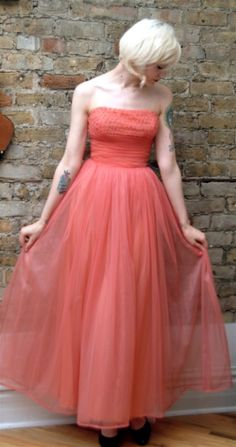 I just saw this on Etsy ... She looks like a princess!   SALE 1950s Vintage Bramsons Pink Formal Dress by dethrosevintage
