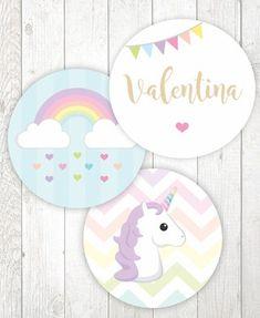 "Círculos de 3,8 cm (1,5"") - Unicórnio Unicorn Birthday Parties, Unicorn Party, Unicornio Birthday, Pinterest App, Festa Party, Magical Unicorn, Baby Art, Practical Gifts, House Party"