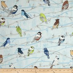 Branching Out Metallic Birds on Branches Bluebird/Silver from @fabricdotcom%0A%0AFrom Hoffman California International Fabrics, this cotton print is perfect for quilting, apparel and home decor accents.  Colors include brown, citron, blue, white, and navy with metallic silver accents throughout.