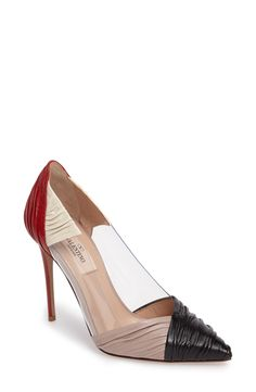 Valentino Colorblock Ruched Pointy Toe Pump
