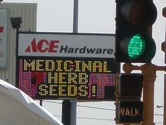 """Chad and I noticed this sign at the Moorhead Ace Hardware. I could tell all my friends that they sell medicinal herb seeds, but until I could take a photo of it.... I have yet to verify if they actually sell said """"medicinal herb seeds""""     Cures in the garden"""