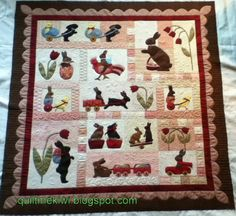 """Rabbits Prefer Chocolate"" a Bunny Hill design, quilted by Leeanne at quiltmekiwi.blogspot.com"