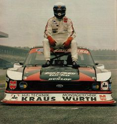 """Klaus Ludwig and his """"Porsche 935 Killer"""", the 1980 Zakspeed-Capri. In 1981 Ford held the DRM championship with this car. Ford Capri, Nascar, Ford Motorsport, Road Race Car, Course Automobile, Classic Race Cars, Porsche 935, Sports Car Racing, Vintage Race Car"""