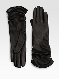 Saks Fifth Avenue Collection Ruched Leather Gloves a little something from me to keep me warm
