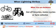 You are Outdoors:Get off bicyles,motor-cycles or farm vehicles. Lightning Safety, Lightning Strikes, Got Off, Thunderstorms, Survival, Management, Outdoors, Author, Education
