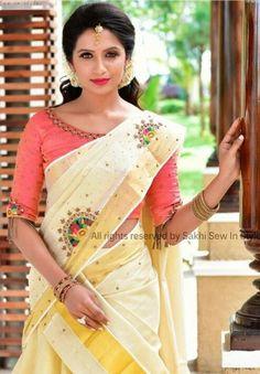 Designer work blouse neck designs to look trendy - The handmade craft Kerala Saree Blouse Designs, Saree Blouse Neck Designs, Half Saree Designs, Onam Saree, Kasavu Saree, Set Saree, Kerla Saree, Anarkali, Silk Sarees