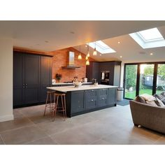 Dunsen Grey Customer Project Like the floor tile Kitchen Family Rooms, Living Room Kitchen, Home Decor Kitchen, Interior Design Kitchen, New Kitchen, Home Kitchens, Luxury Kitchens, Kitchen Designs, Open Plan Kitchen Dining Living