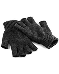 8724da7caa627 Beechfield Unisex Plain Basic Fingerless Winter Gloves (S... https