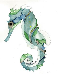 Watercolor print of blue and green seahorse from original painting nautical art 8x10
