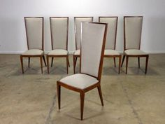 Set of Six High Back Dining Chairs with Mahogany Frames Linen Seats and Backs, Circa 1950's