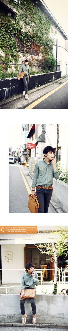 korean fashion men-Nocturne-pocket shirt $30