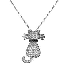 Cat Necklace-KIVN womens fashion Jewelry cubic zirconia cute Cat Necklace