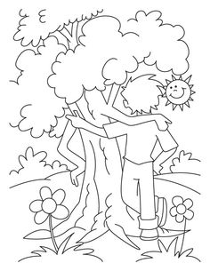 A boy is celebrating an arbor day with the tree coloring page