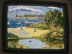 Ardis Deane hooked this lovely adaptation of a postcard from Santa Cruz.  I believe the location is Twin Lakes Beach.