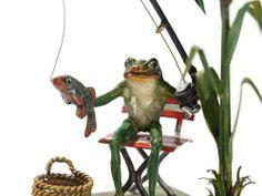 Bergmann Vienna Bronze 'Fishing Frog', around 1950 #rubylane #bronzes