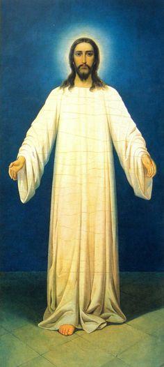 Икона «Спаситель в белом хитоне», написанная владыкой Серафимом. Свято-Троицкая Александро-Невская Лавра
