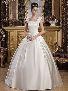 Scoop Neckline Satin Ball Gown with Floral Embellishments - USD $178.99