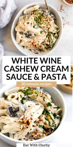 This vegan cashew cream sauce and pasta has garlicky sauteed mushrooms, an easy vegan cream sauce and perfectly cooked gluten free pasta. This recipe is easy to make and perfect for a simple weeknight dinner! #veganpasta #pasta #creamsauce Quick Vegetarian Dinner, Vegan Dinner Recipes, Meal Recipes, Healthy Breakfast Recipes, Vegan Dinners, Wine Pasta Sauce, Cream Sauce Pasta, Cooking With White Wine, Cooking Wine