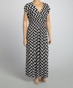 Another great find on #zulily! Black & White Zigzag Surplice Dress - Plus #zulilyfinds