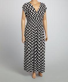 Another great find on #zulily! Black & White Zigzag Surplice Dress - Plus #zulilyfinds