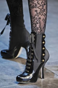 Dolce & Gabbana Black Patent Leather and Grey Military Heeled Boots with Button trim Viktorianischer Steampunk, Steampunk Fashion, Steampunk Costume, Gothic Fashion, Trendy Fashion, Bootie Boots, Shoe Boots, Ankle Boots, Cute Shoes