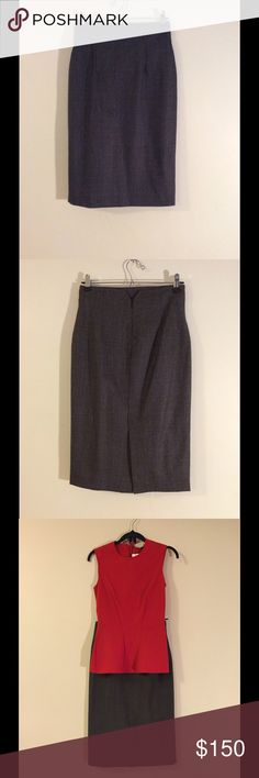 """Les Copains Blue Wool Pencil Skirt in Gray Fitted, """"Les Copains Blue"""" pencil skirt in gray. Length: 25.5 inches from waist to hem. Size 40; back hem split. Composition: 98% virgin wool 2% elastane. Pristine condition. Never worn, but removed tags. Dry clean. Shown with """"Stella McCartney Peplum Sleeveless Top"""" also available for sale on my Unvarnished page. Les Copains Blue Skirts Pencil"""