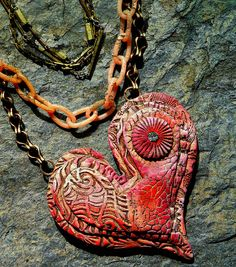Christine Damm/Stories They Tell - Layered Heart pendant - polymer clay, Textured layers, oil paint, pencil, vintage rhinestone, vintage chain