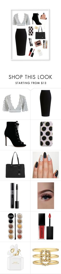 """Office day😉"" by oliviaonline ❤ liked on Polyvore featuring Theory, Gianvito Rossi, Harper & Blake, MICHAEL Michael Kors, Christian Dior, Giorgio Armani, Smashbox, Marc Jacobs, Gucci and Natalie B"